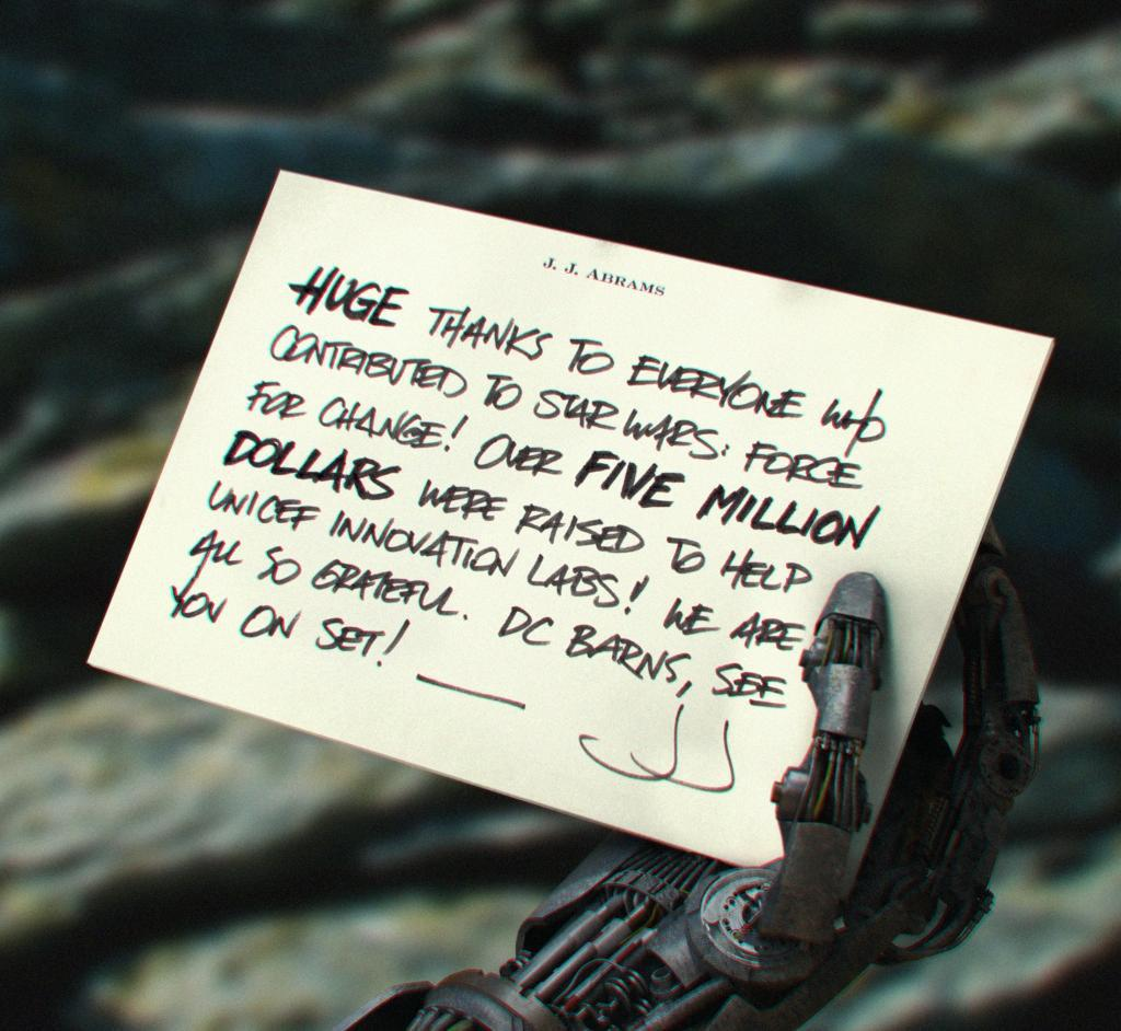 A picture of a robotic hand from Star Wars: Episode VII!